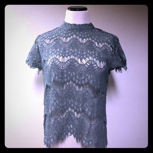 INNY Top Size XLarge Sheer Lace Green